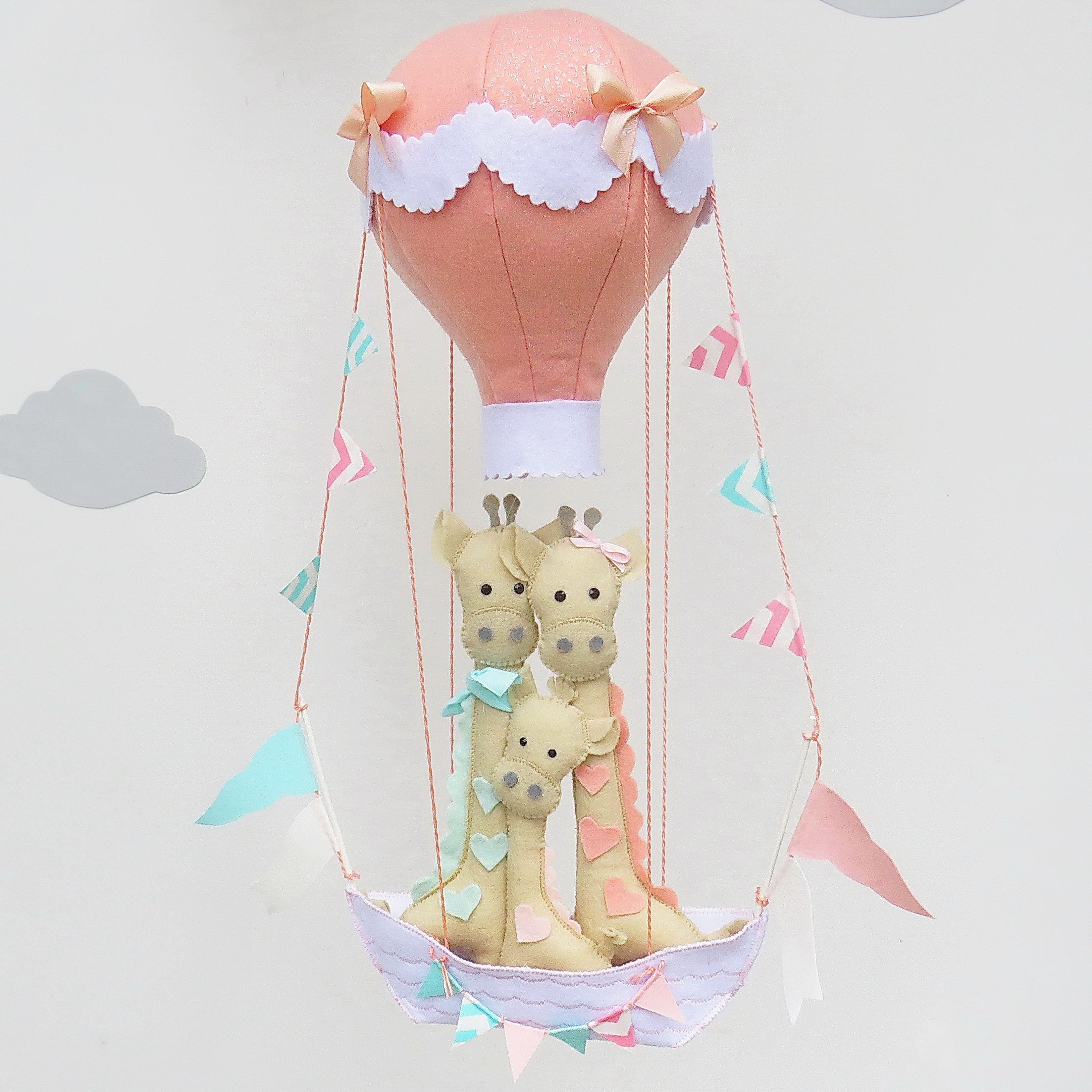 felt mobile baby decor giraffe balloon nursery