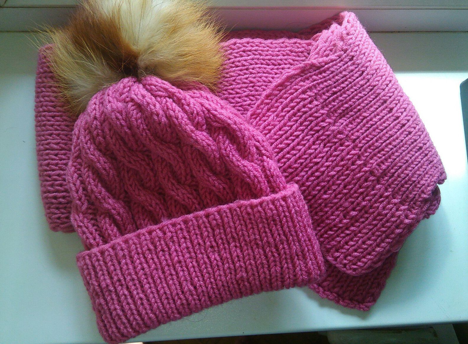 clothes hat scarf winter fur pink