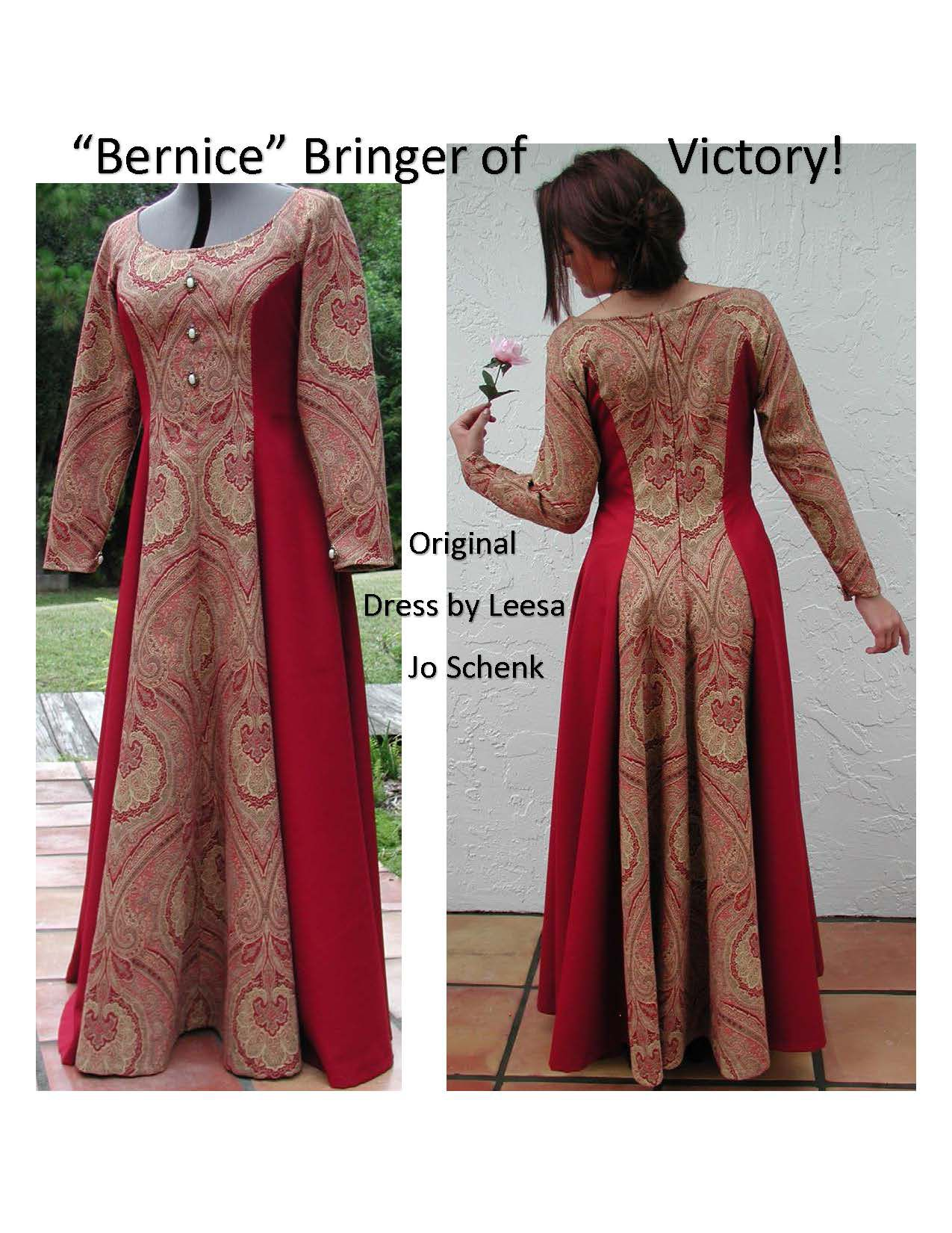 original renaissance bernice onceuponatime longdress leesajoschenk costume handmade red gown