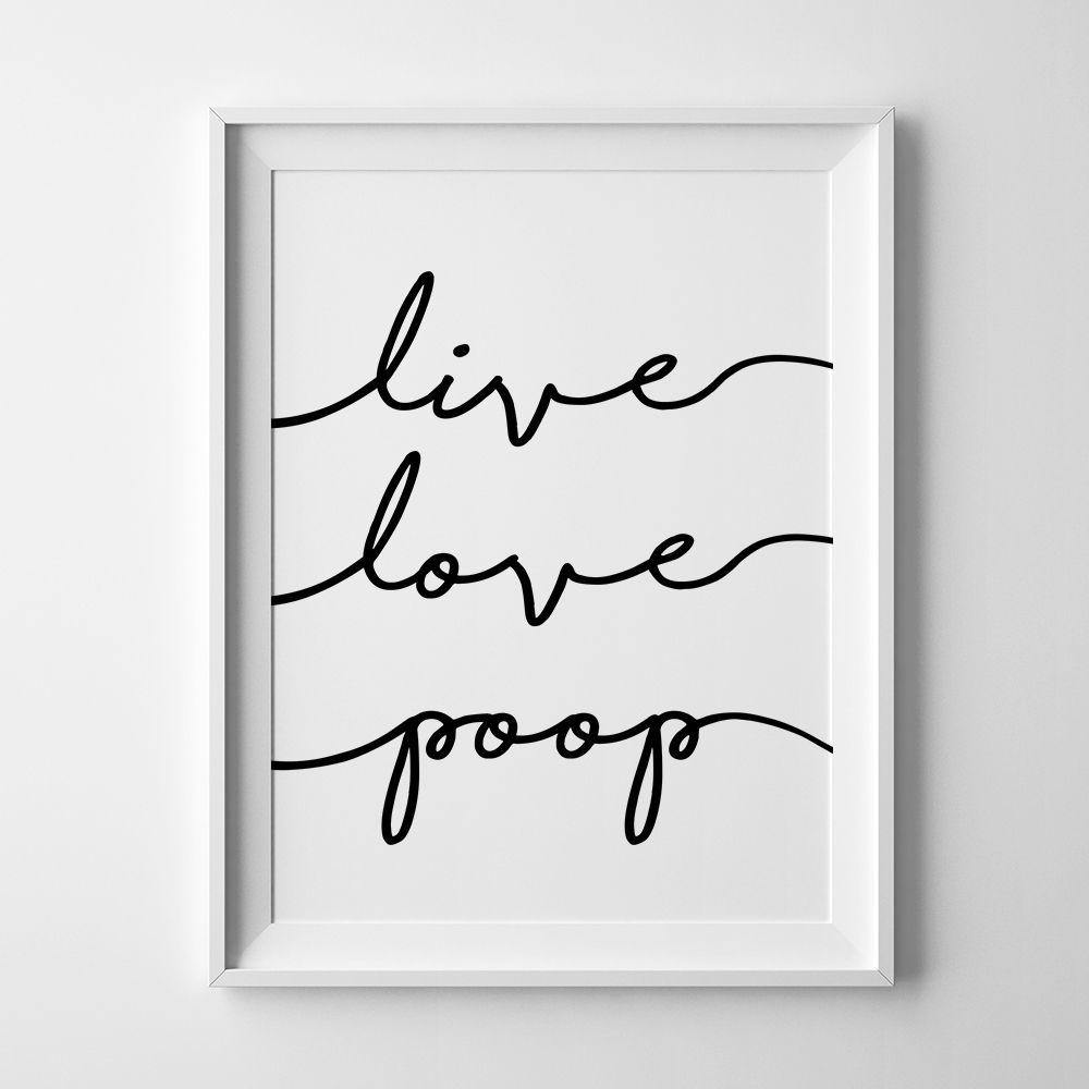 Funny bathroom wall art poop sign