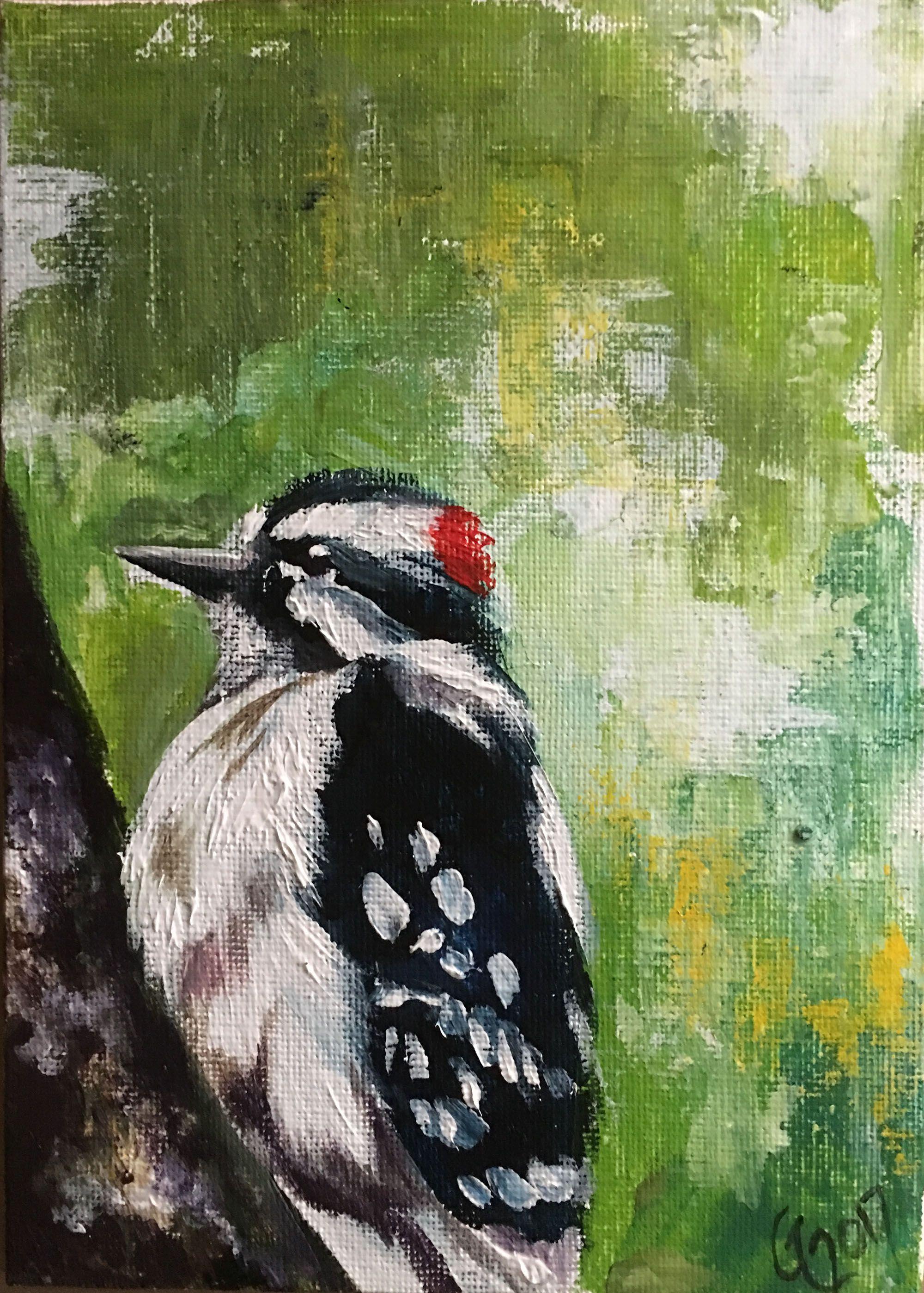 gift art painting decor acrylic home bird original lovers woodpecker