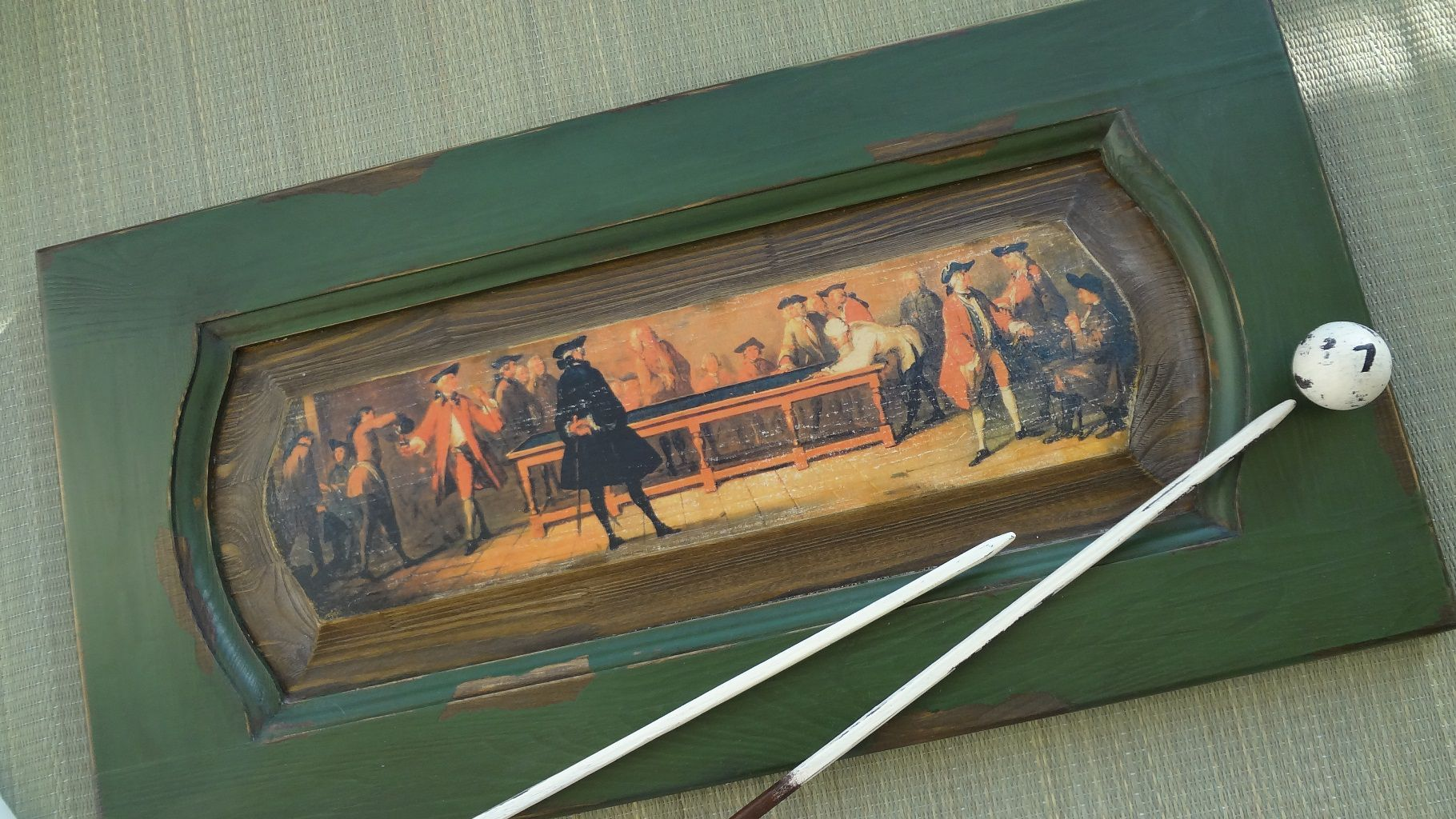 panel gifts old men women billiards painting