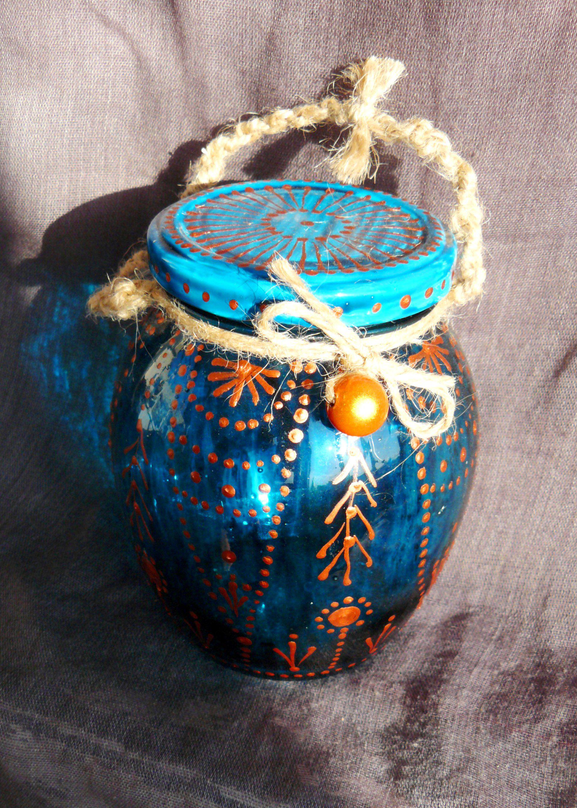 vintage jar stainedglass décor
