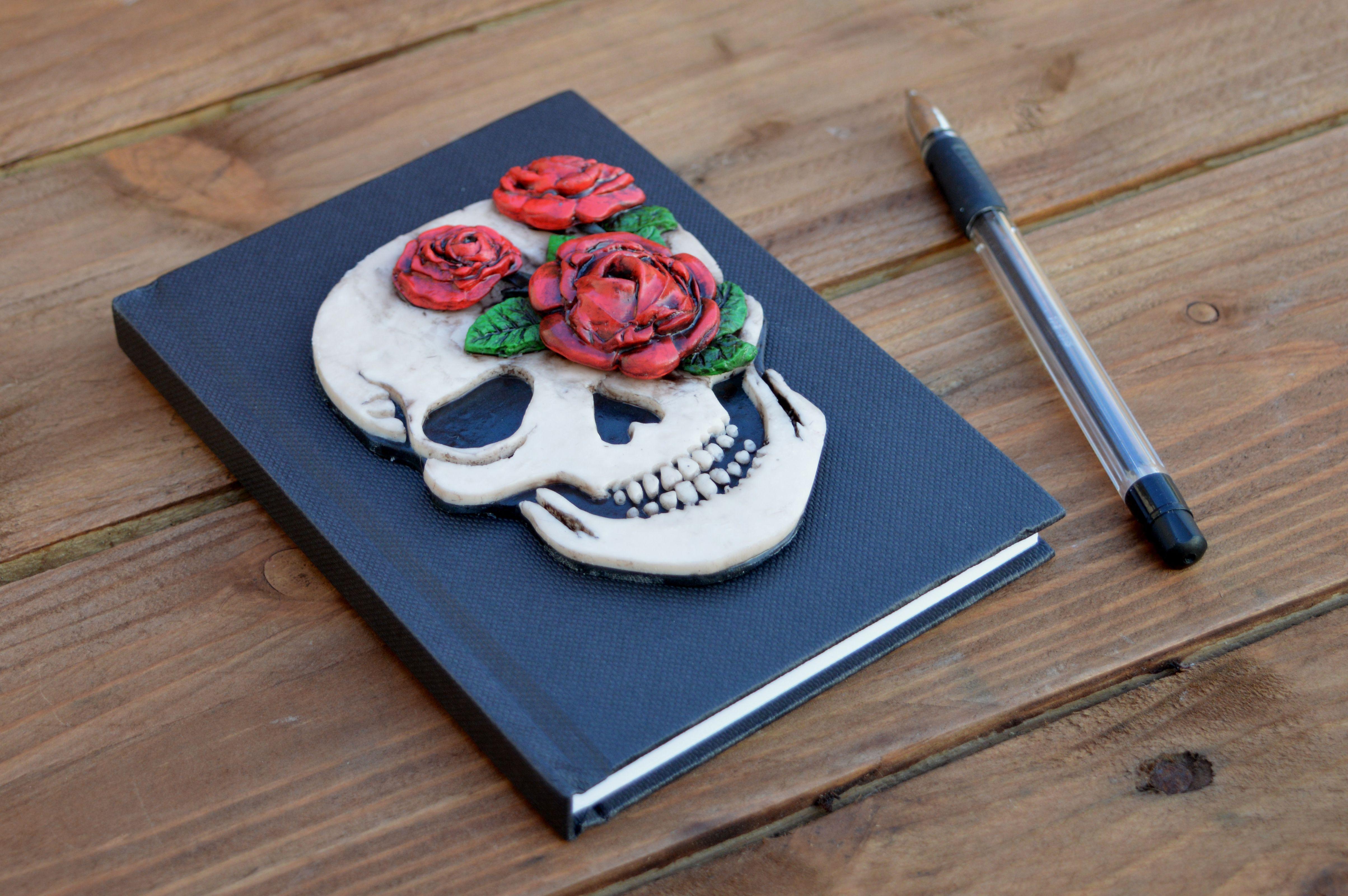 Halloween rockabilly unique gift writing skull notebook men handmade book alternative rose tattoo art