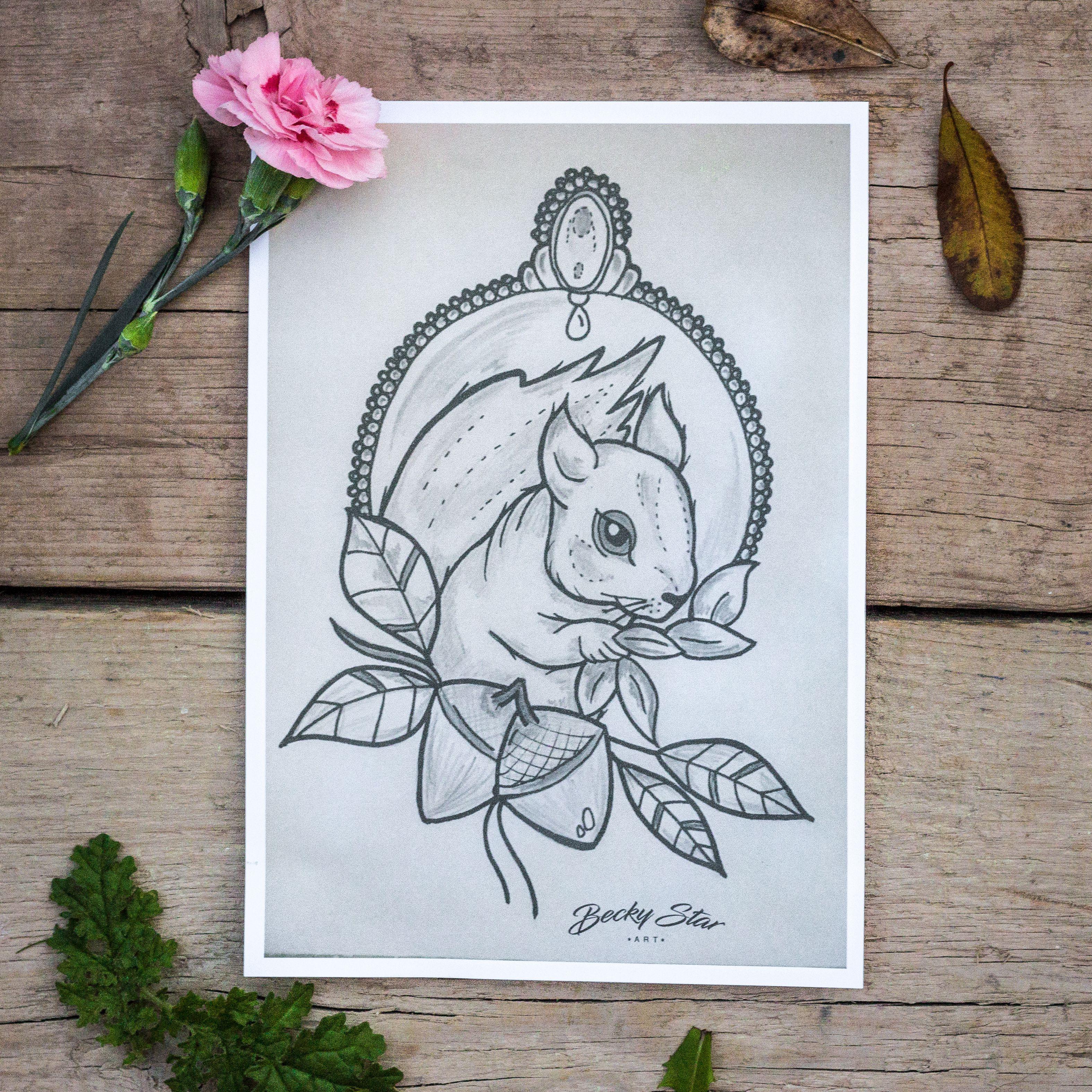 art design print squirrel