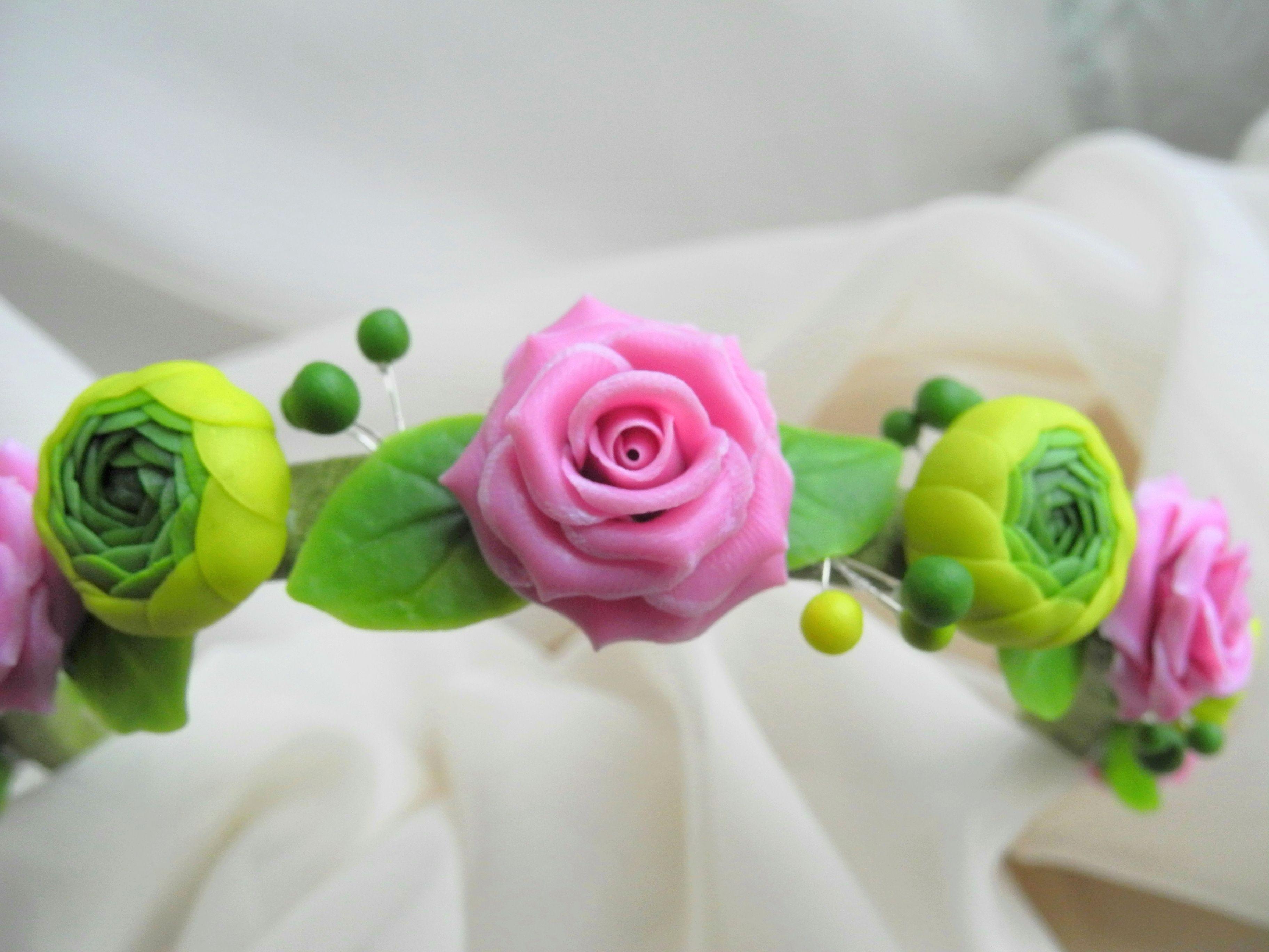 handmade porcelain handmadegift rose headband flowers bijou wreath ranunculus cold ceramic
