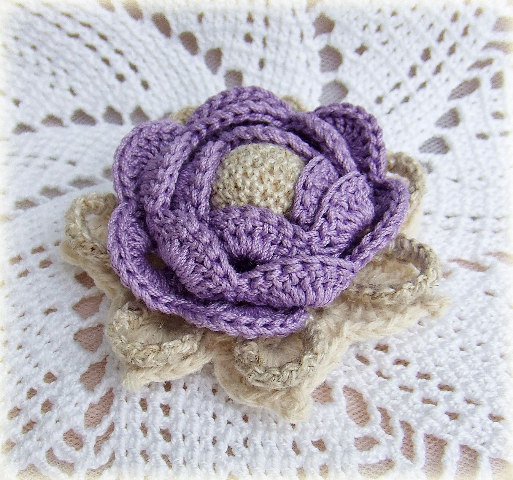 pin broach cotton violet flax knitting