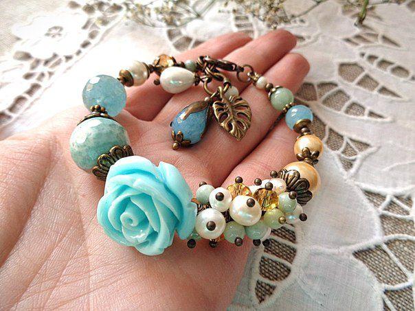 roses flowers pearls summer bracelet romance