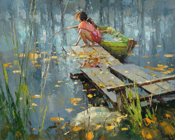 interior picture river painting art