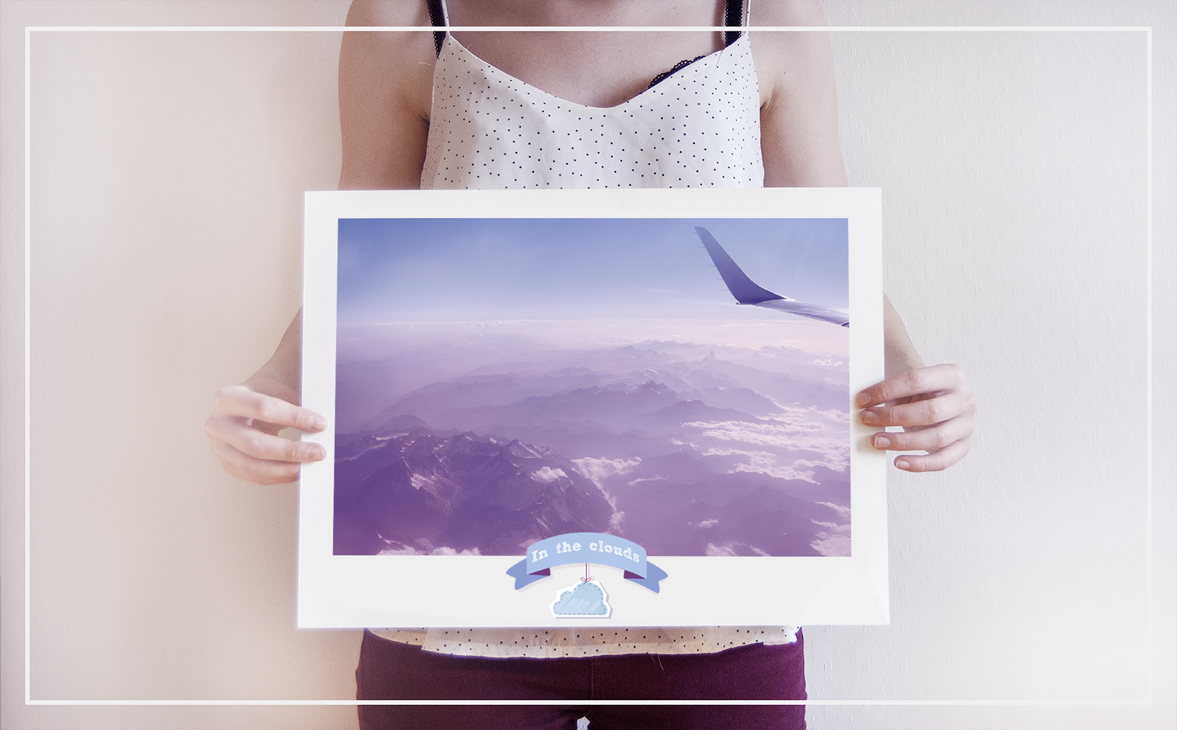 travel art sky blue plane mountains cloud photography print poster