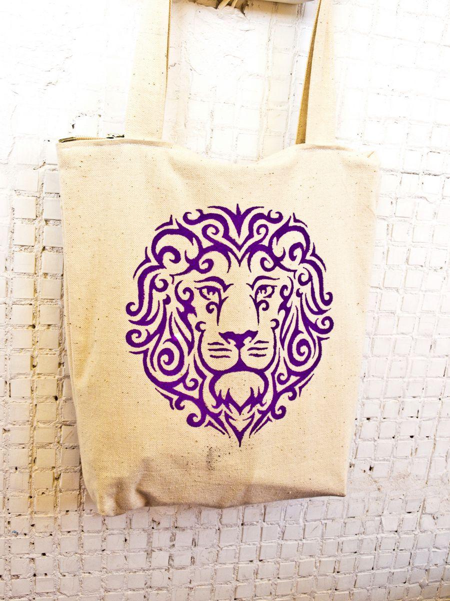accessories bag lion violet painting