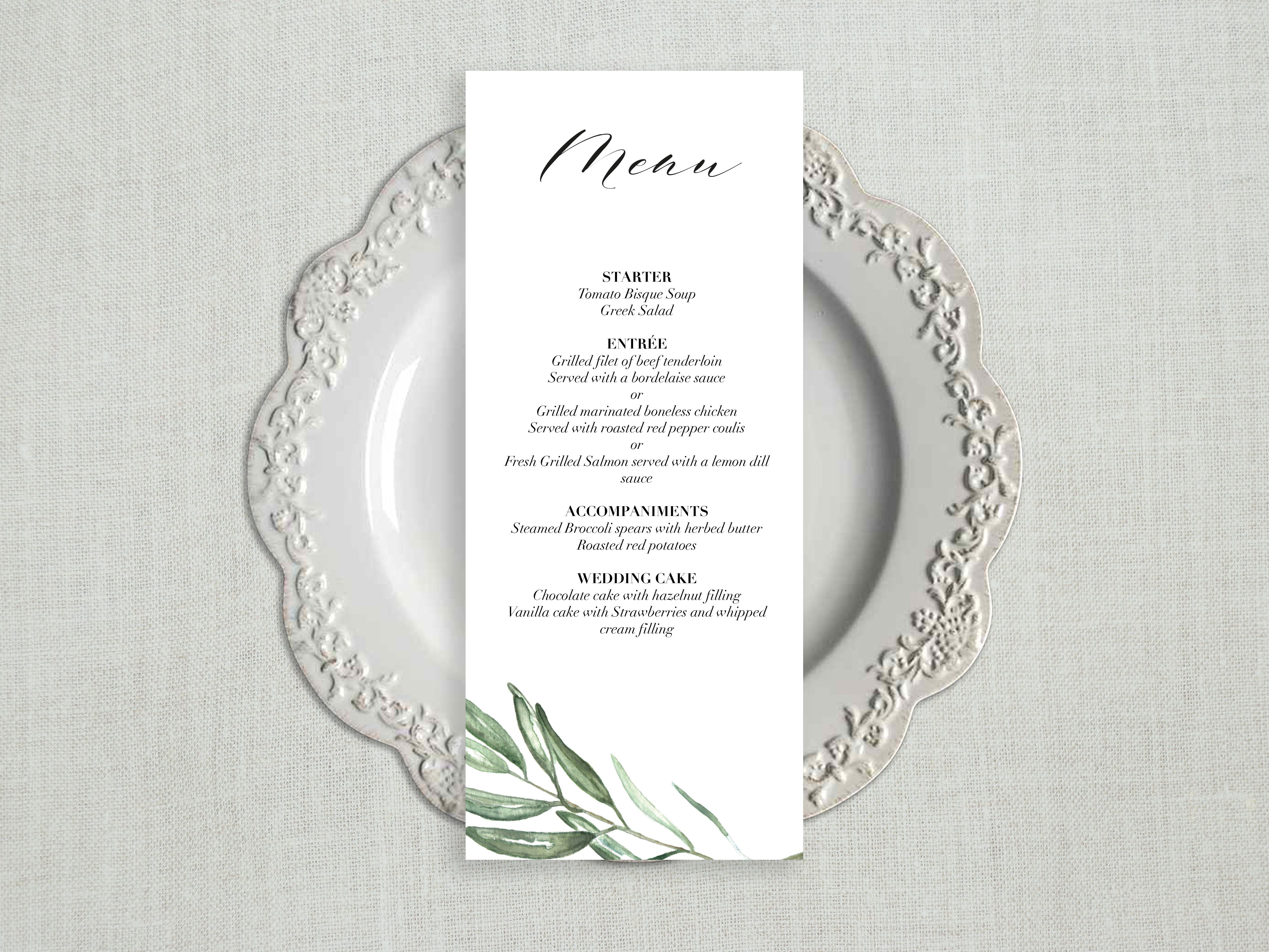 Wedding Menu Template.Greenery Wedding Menu Template Wedding Menu Cards Wedding Menu Sign Wedding Menu Printable