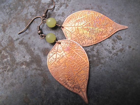 gift quartz earrings leaves leaf