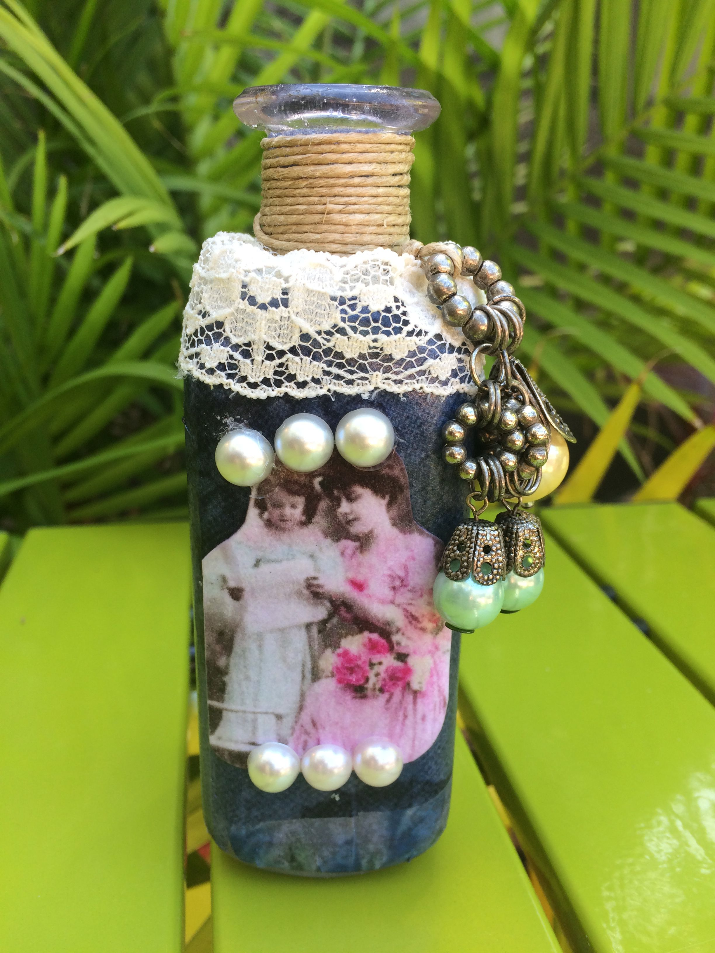gift vintage mache unique lace pearls birthday for paper bottle holiday mom decoupaged
