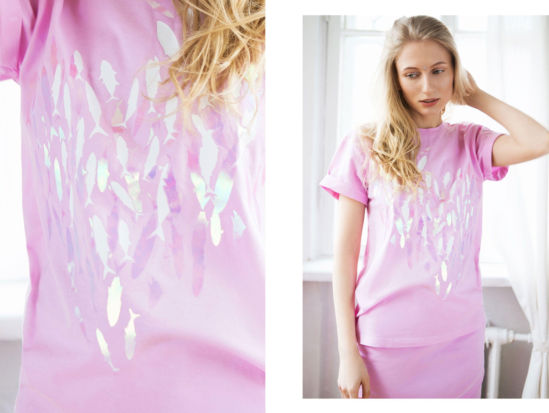 shirt fish cotton white pink