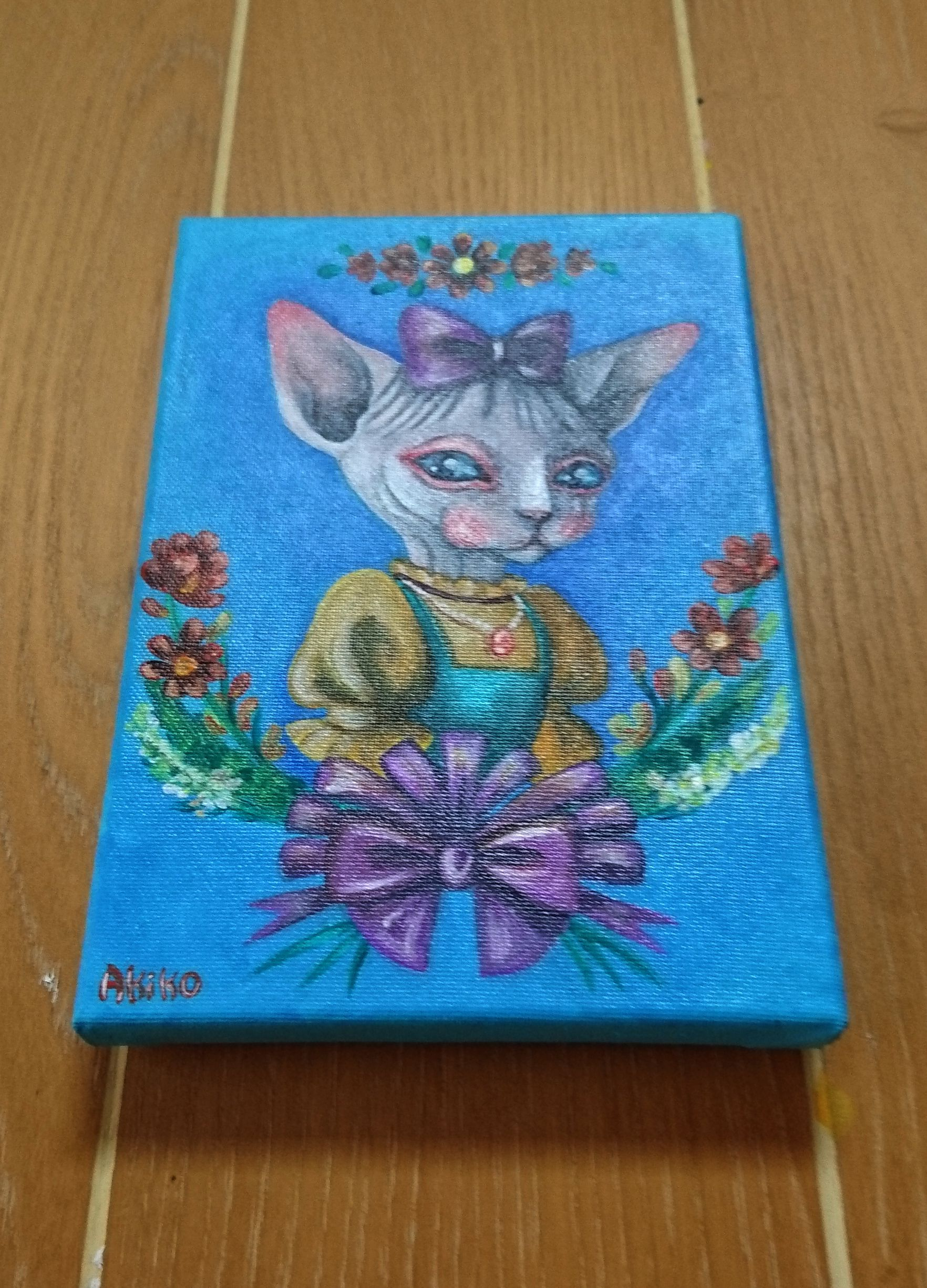 girl cat blue sphynx animal flower