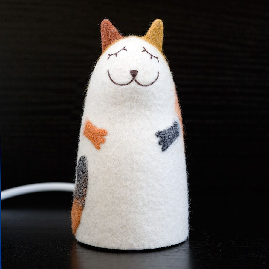 felt nightlight cat interior threecoloured lamp
