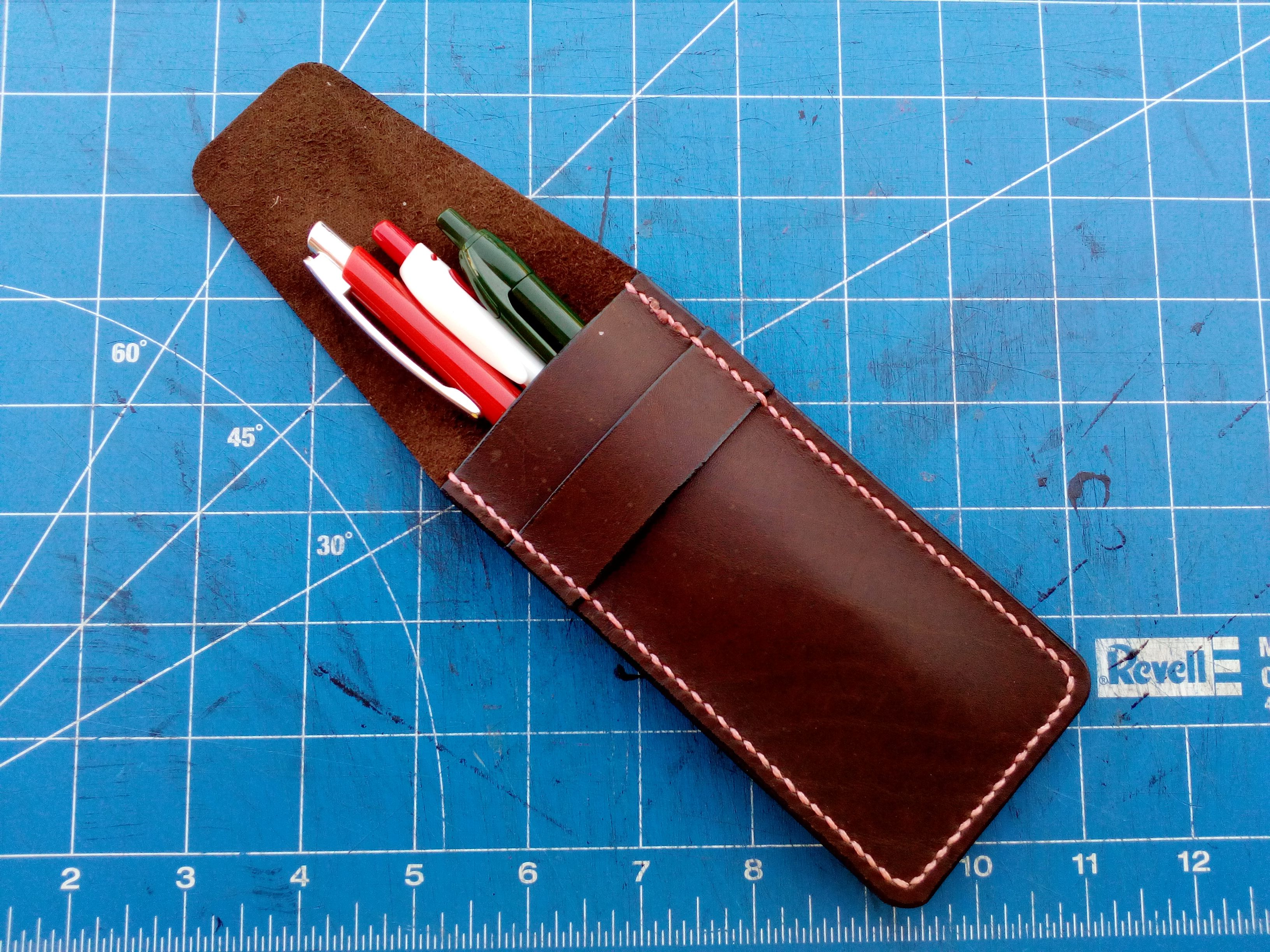 lether bag leather case gift school handmade pens holder genuine small pencil