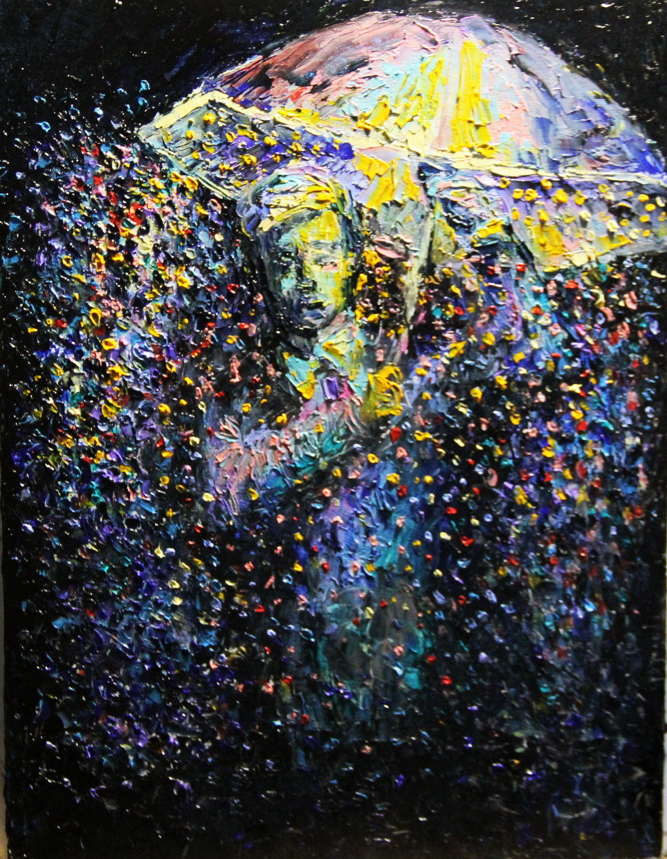 painting oil landscape rain