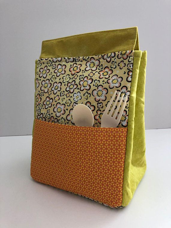 bag personalized flowery lunch insulated yellow