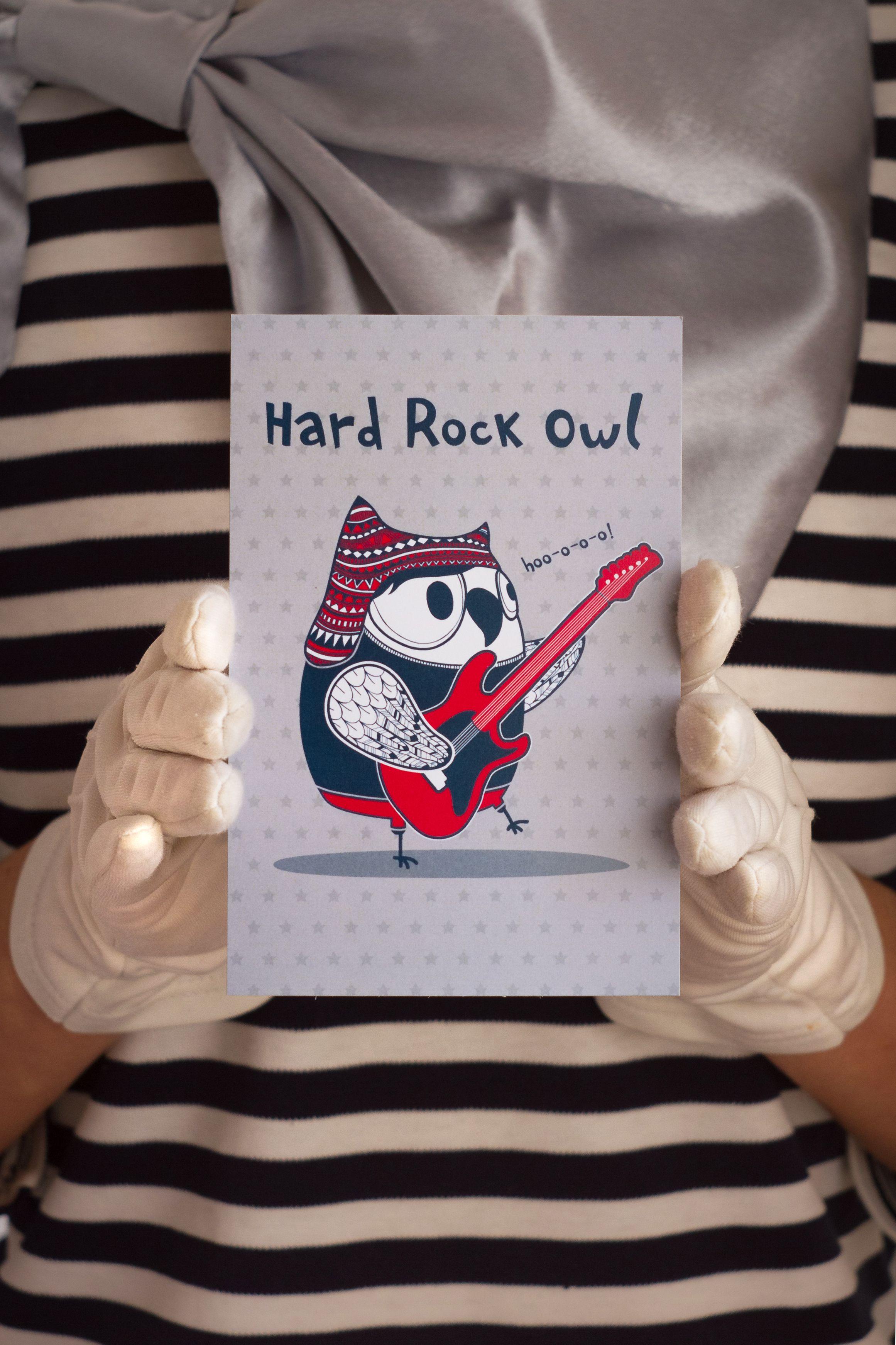rock surprise present postcard owl hard
