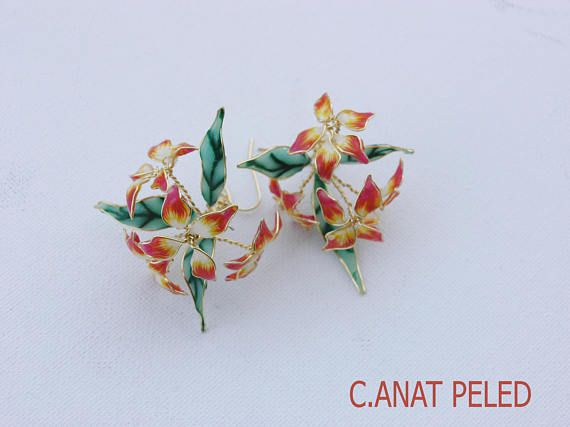 unique big orange earrings handmade floral flower party