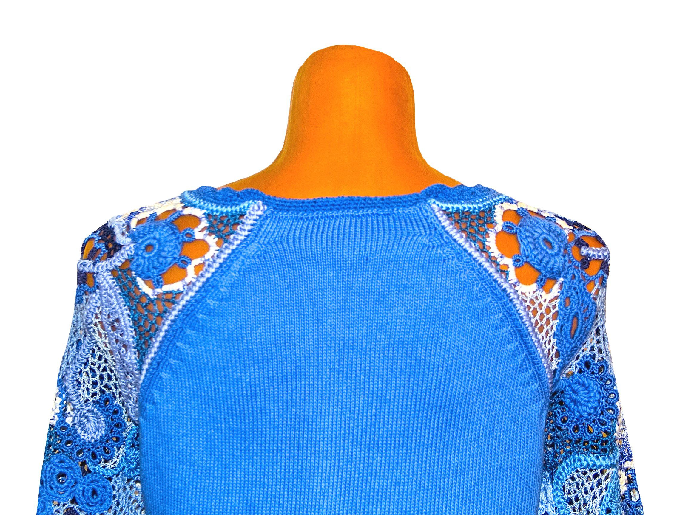flowers clothes tunic women blue knitting