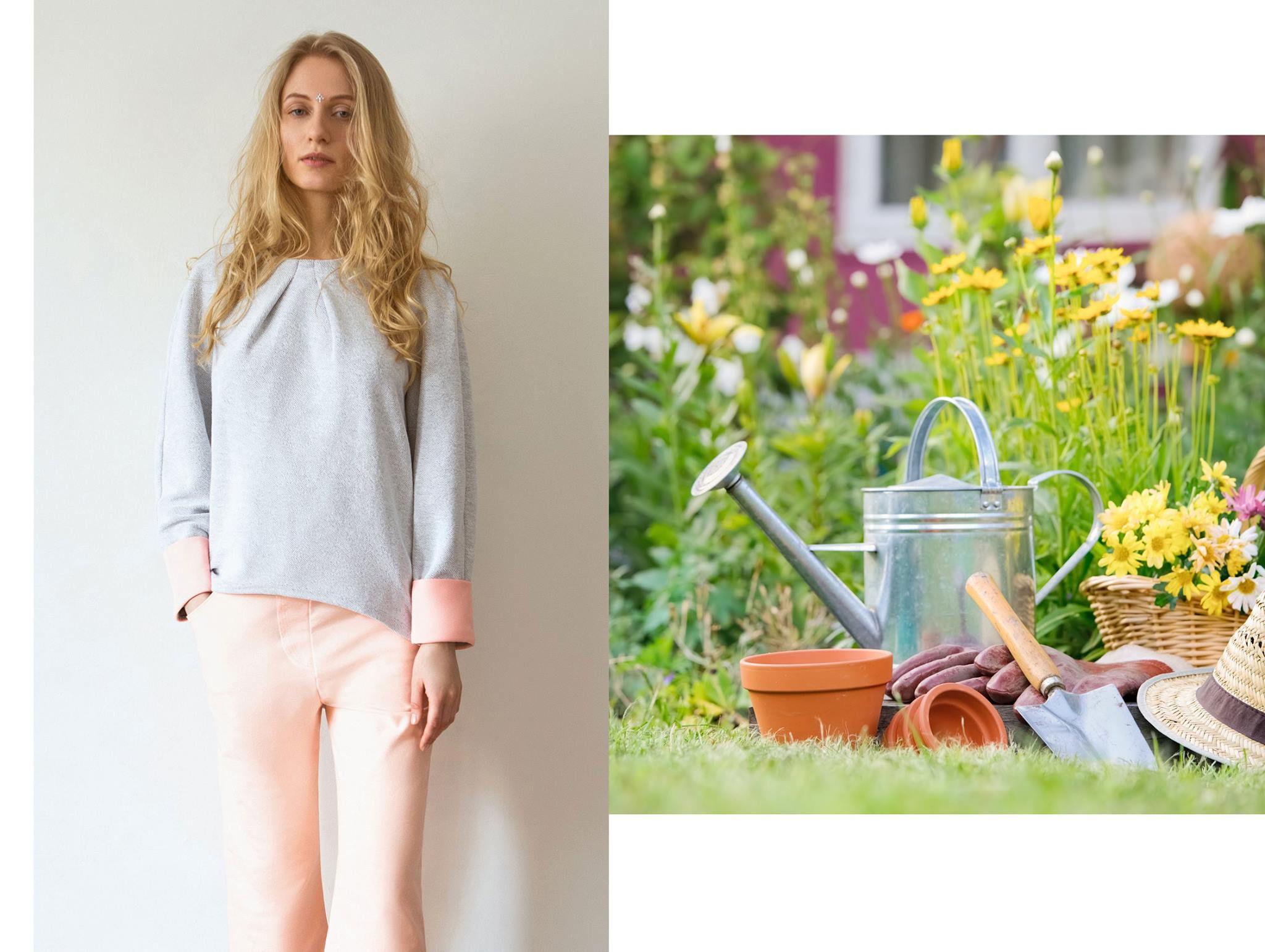 fashion clothes gray sweatshirt pink