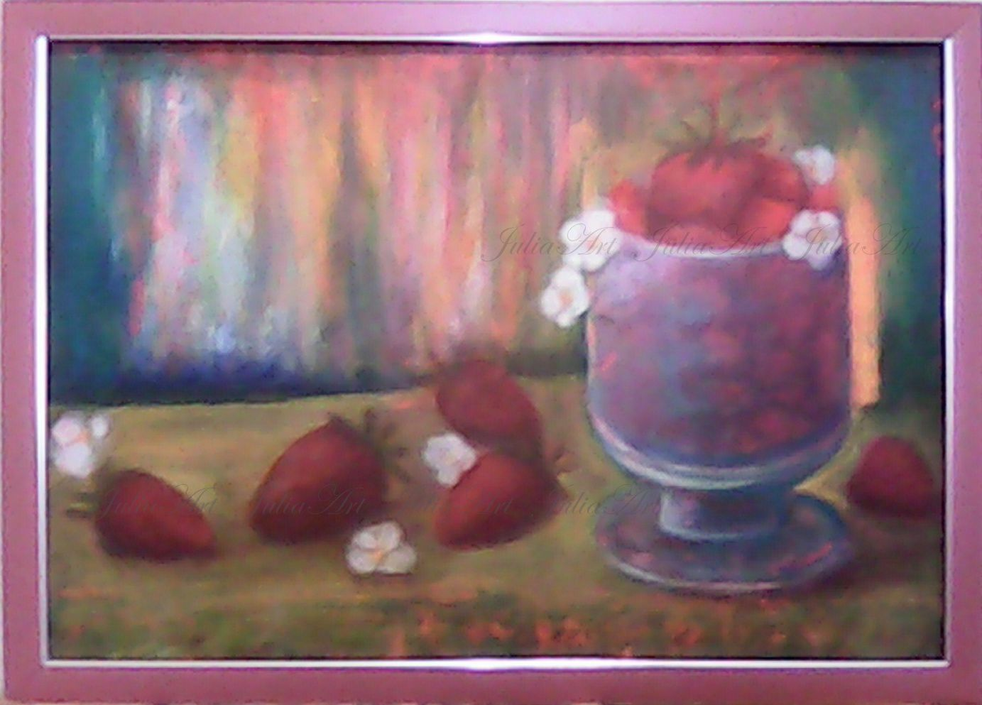 art flowers painting berries oil