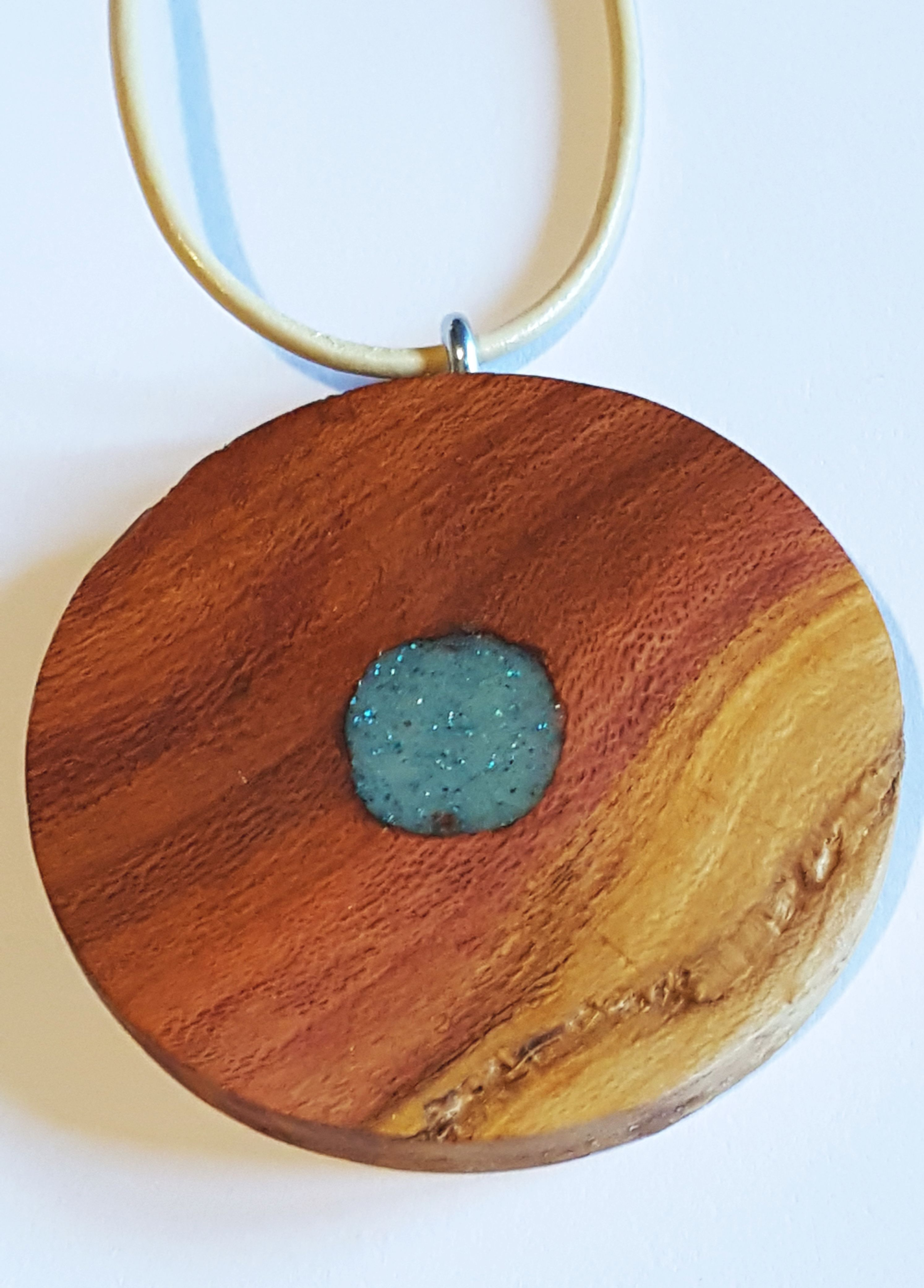 cord leather resin pendant epoxy plum necklace wood