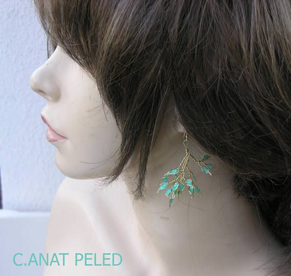nature green branch earrings light