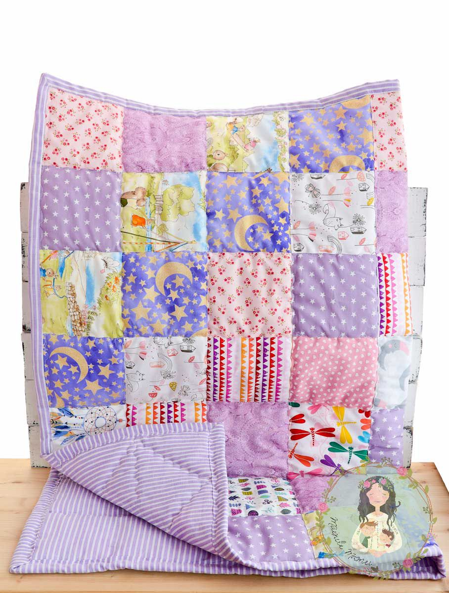 baby crib gift personalized patchwork custom newborn blanket receiving shower quilt