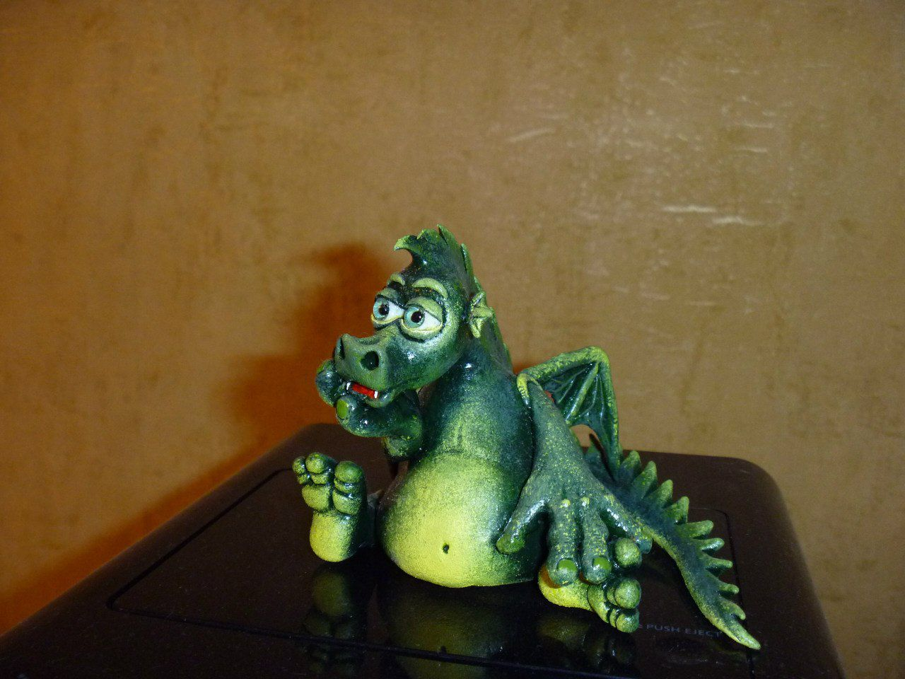 dragon toy green clay kids