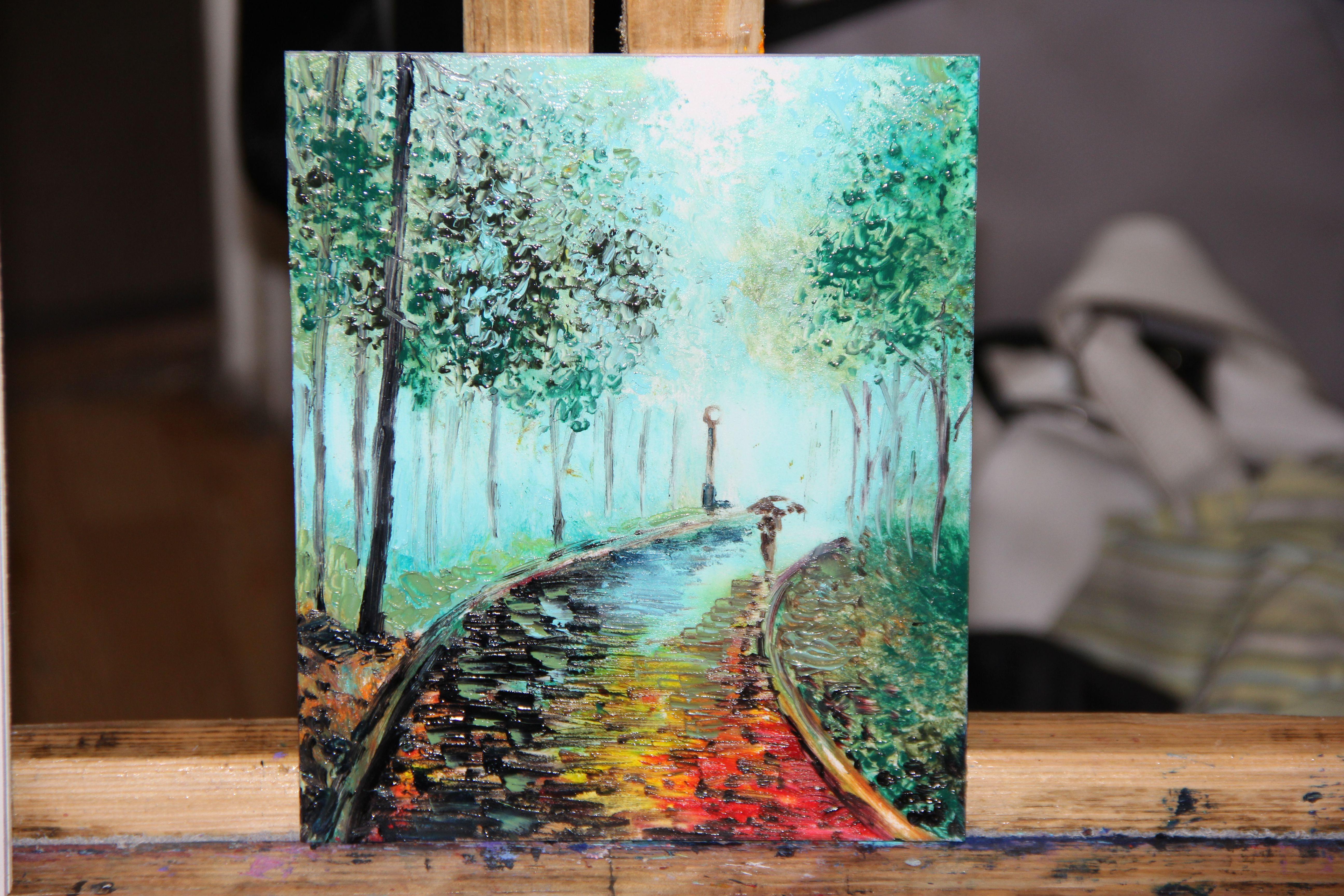 painting oil landscape park green autumn