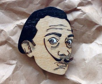 """Salvador Dali"" wooden brooch"