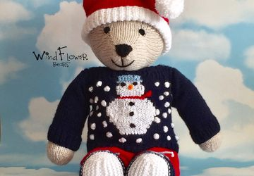 Hand knitted , one of a kind Christmas teddy bear - Snowflake