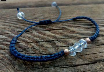 Blue Minimal Macrame Crystal Bracelet