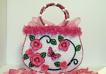 White and Pink Rose large tote bag