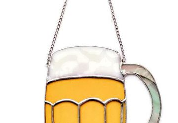 Beer Mug Suncatcher for Men, Alcohol-free healthy ornament for him, in 4 colours
