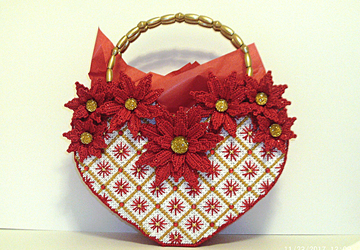 Red and White Poinsettia Heart shaped large tote bag