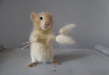 Felted hamster, portrait doll