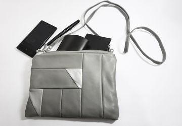 Grey Leather Bag, Geometric Bag, Cross Body Bag, Two Toned Bag, Silver Bag, Small Handbag