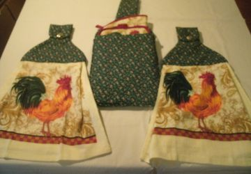 Rooster Design Quilted Hanging Towel Gift Set