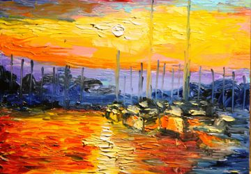 "A painting ""Sunset behind the sea"""
