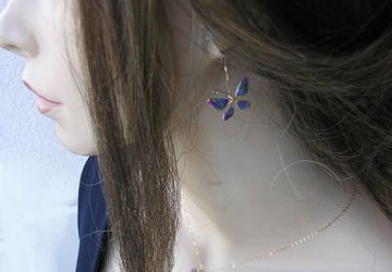 Butterfly jewelry set. Colorful butterfly earrings and necklace, gold filled.