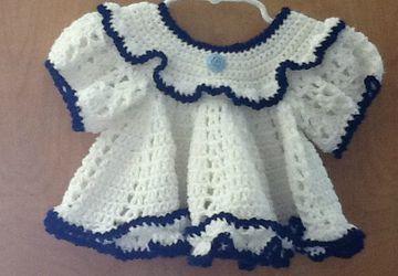 Blue rose newborn dress set