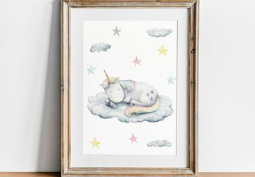 Printable Unicorn Wall Art, Girl Nursery Decor, Playroom Print