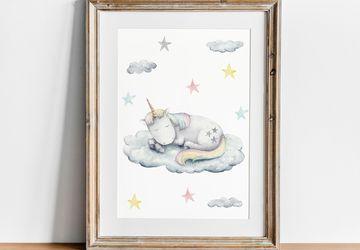 Printable Unicorn Wall Art, Girl Nursery Decor, Playroom Print