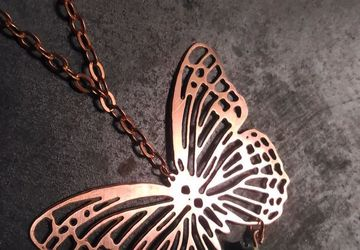Copper butterfly necklace with abalone gemstone,lace buttefly pendant,real butterfly design