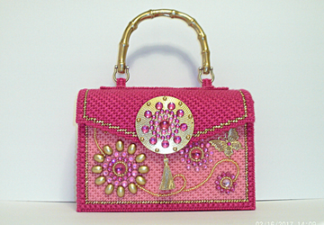 Pink and Gold Jeweled Handbag